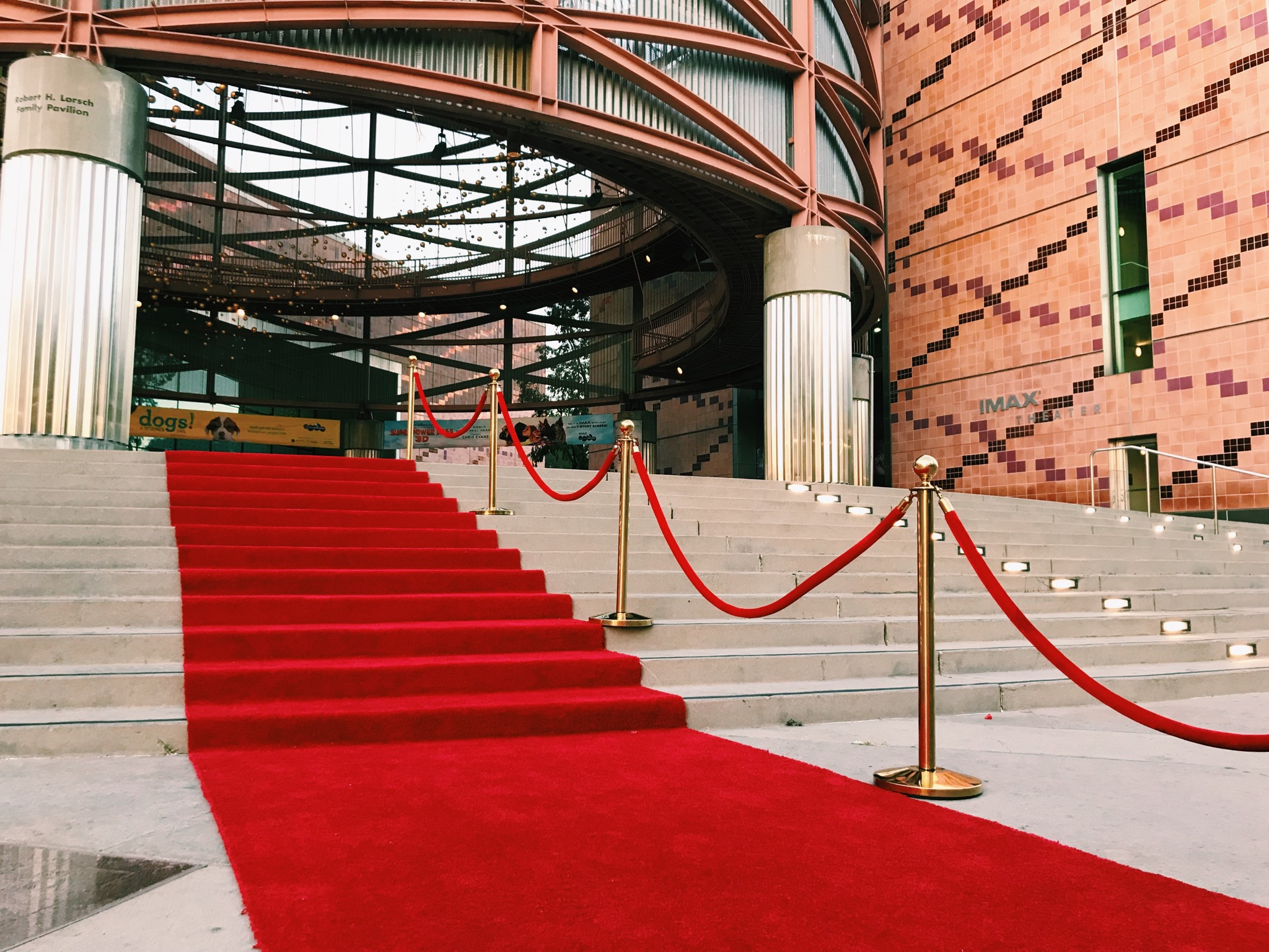 Red carpet and stanchions on stairs leading to Lorsch Family pavilion for grand event entrance