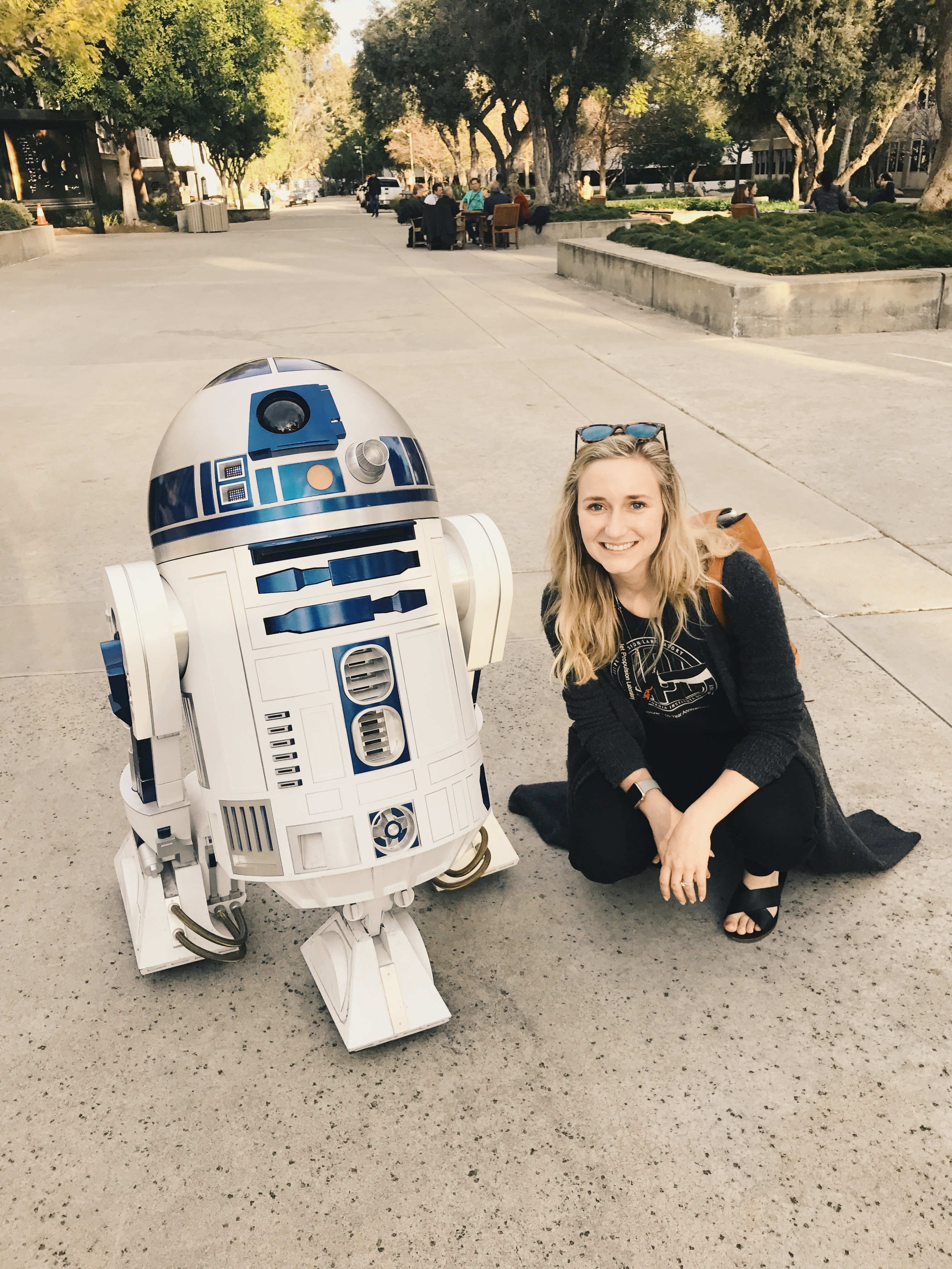 Hallie Abarca next to R2D2
